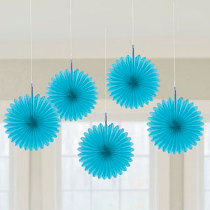 Mini Hanging Fan Decor- Blue 5ct