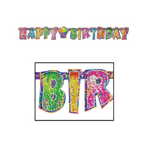 Prismatic Happy Birthday Streamer - 5ft