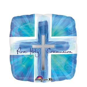 Joyous Communion Cross Blue Balloon- 18in