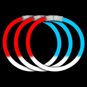 Fun Central P78 8 Inch Glow in the Dark Bracelets - Red-White-Blue