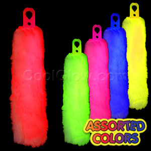 6 Inch Glow Light Stick with Fur and Lanyard - Assorted