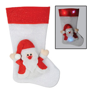 Light Up Santa Stocking - 19in