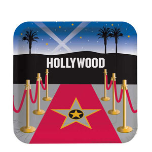 Reel Hollywood 9 Inch Square Dinner Plates- 8ct