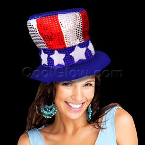 Patriotic Shimmer Top Hat