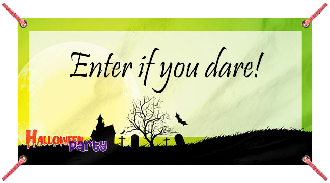 Green Halloween Party - Custom Banner