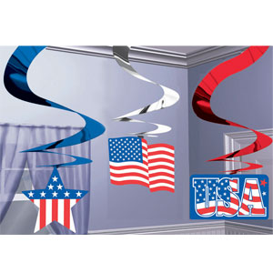 Patriotic Hanging Swirls with Icons- 3ct
