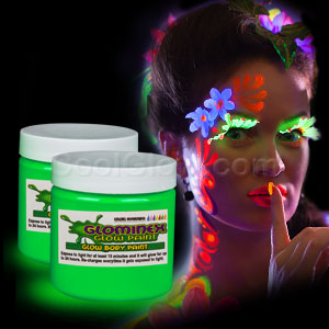Glominex Glow Body Paint 4 oz Jar - Green