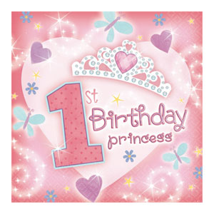 First Birthday Princess Luncheon Napkins - 36ct