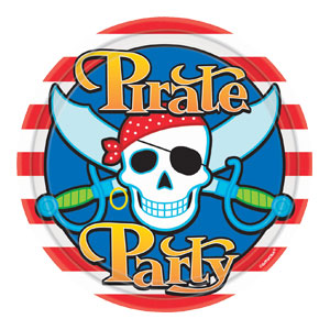 Pirate Party 9 Inch Plates- 8ct