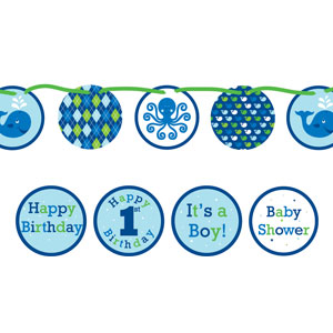 Ocean Preppy Banner - Circle Ribbon