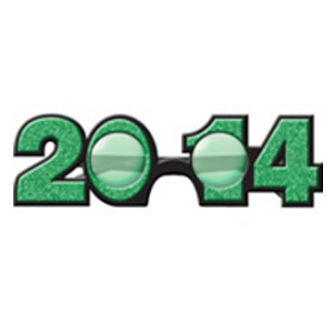 2014 Plastic Glitter Glasses- Green
