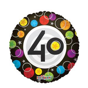 40th Happy Birthday Dots Balloon- 18in
