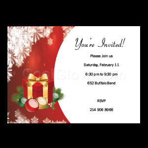 Red Holiday with Gifts - Custom Invitations