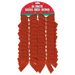 Flocked Red Bows- 24ct