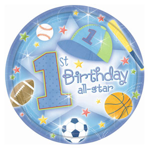 First Birthday All-Star Luncheon Plates - 18ct