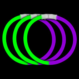 8 Inch Glow Bracelets - Green-Purple