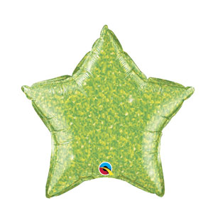 Lime Green Crystalgraphic Star Balloon - 20 inch