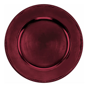 Round Burgundy Metallic Charger- 14 Inch