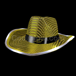 LED Sequin Cowboy Hat - Gold