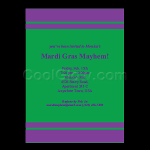 Purple and Green Striped - Custom Invitations
