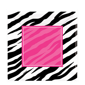 Zebra Party Square 10 Inch Plates- 8ct