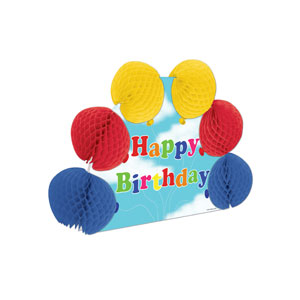 Happy Birthday Popover Centerpiece 1 - 10 inches