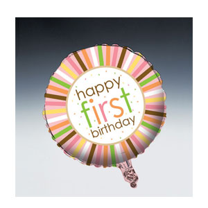 Sweet at One Balloon Girl First Birthday- Metallic