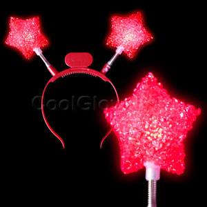 LED Glitter Star Headband - Red
