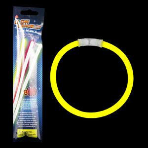8 Inch Retail Packaged Glow Bracelets - Yellow