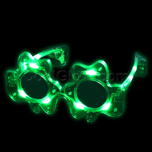 LED Green Shamrock Glasses