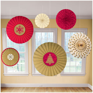Holiday Paper Fans- 6ct