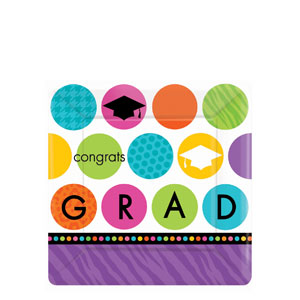 Colorful Commencement 7 Inch Square Plates- 18ct