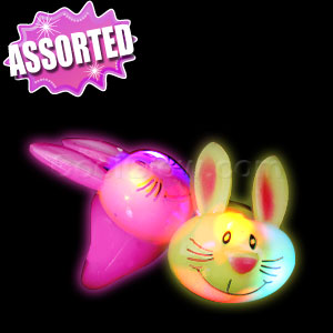 LED Jelly Bunny Rabbit Rings - Assorted