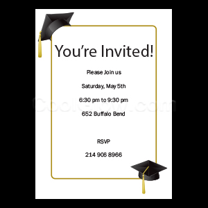 Gold Graduation Caps - Custom Invitations