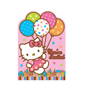 Hello Kitty Balloon Dreams Invitations- 8ct