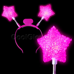 LED Glitter Star Headband - Pink