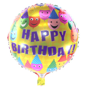 Birthday Smiley 18 Inch Metallic Balloon