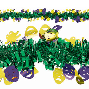 Mardi Gras Masks Tinsel - 15ft