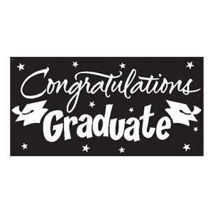 Black Congrats Grad 10 ft. Banner