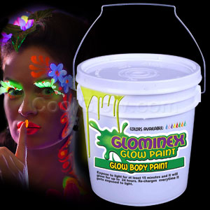 Glominex Glow Body Paint 128oz Bucket - Yellow