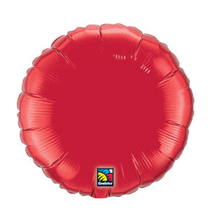 18 Inch Round Metallic Balloon - Red