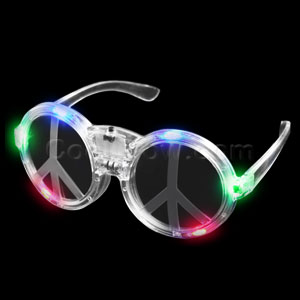 LED Peace Sign Sunglasses - Multicolor