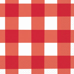 American Red Gingham Plastic Tablecover
