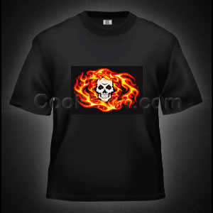 LED Sound Activated T-Shirt - Skull and Flames