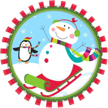 Joyful Snowman Plates 10 12 inches