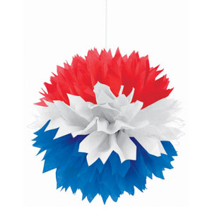 Patriotic Fluffy Decoration- 3ct