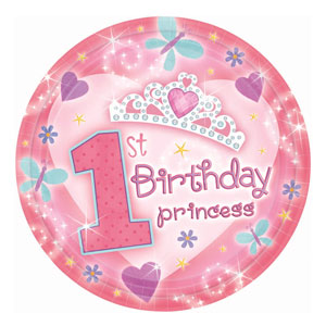 First Birthday Princess Luncheon Plates - 18ct