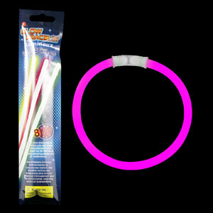 8 Inch Retail Packaged Glow Bracelets - Pink