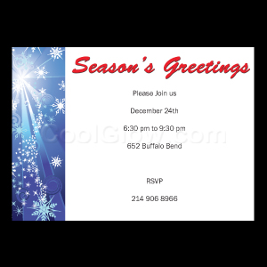 Dark Blue Snow Burst 'Seasons Greetings' - Custom Invitations