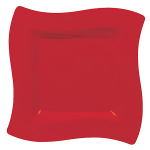 Red 10 Inch Wavy Square Plates - 10ct
